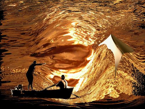 sunset reflections boat fishermen pyramid danube