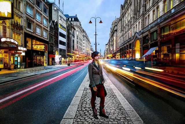 Girl in London Traffic