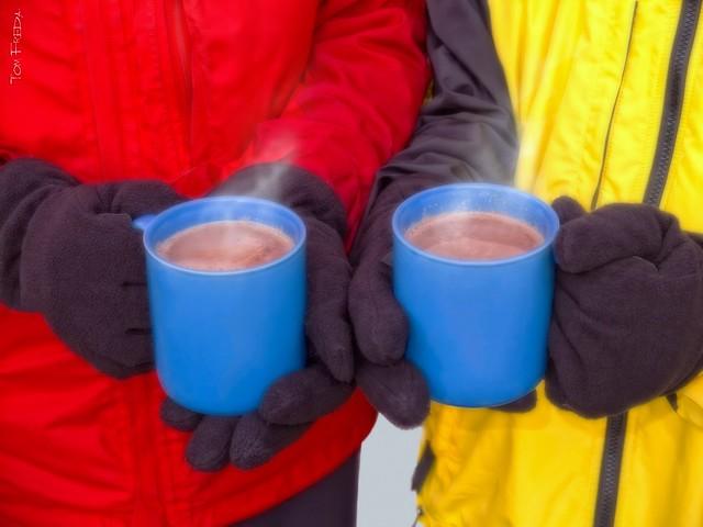 Hot chocolate at the skating rink