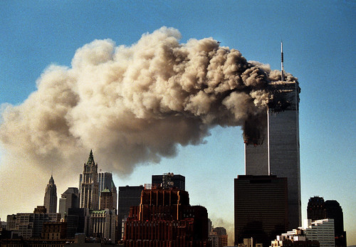 World Trade Center Towers Smoulder Before Collapse 9/11