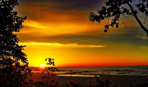sunset sea baltic polen ostsee pommern kołobrzeg kolberg westpommern