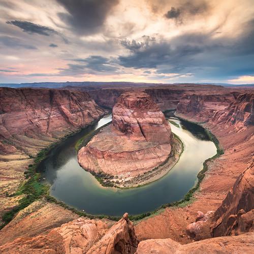 sunset summer usa water river season landscape time az canyon page