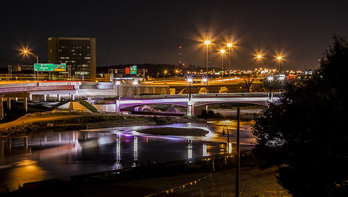 dayton ohio interstate 75 bridge freeway overpass highway downtown art institute long exposure building city urban landscape lights night dark 937 montgomery county great miami river reflection color