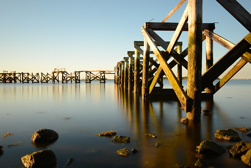 beach water sunrise pier long exposure norwalk tripod