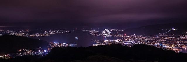 Bergen viewed from Mt. Løvstakken - New Years Eve 2013