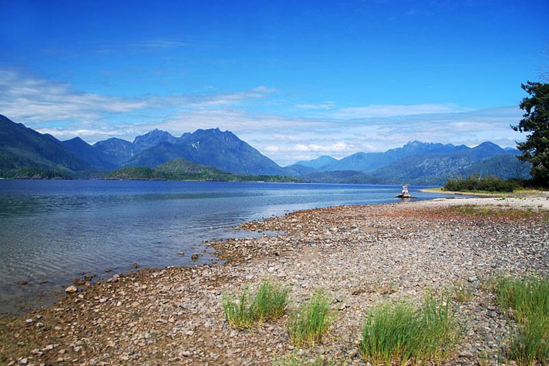 Kennedy Lake alongside Pacific Rim Highway 4, Vancouver Island, British Columbia, Canada