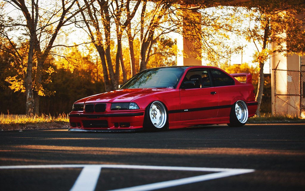 Bmw E36 Red Car Tuning Low Ride Autumn Hd Wallpaper Flickr