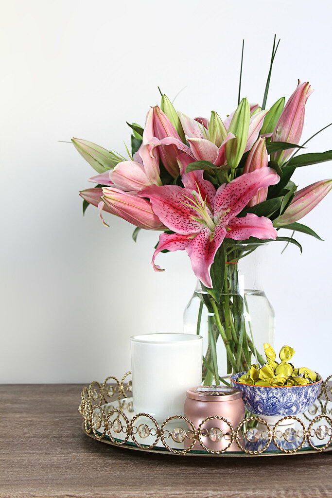 Stargazer lilies and gold tray