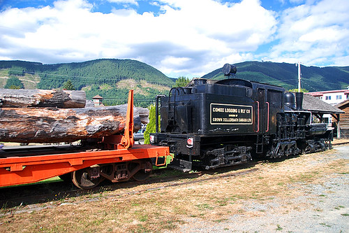 Locomotive at Kaatza Station Museum & Archives, Lake Cowichan, Cowichan Valley, Vancouver Island, British Columbia
