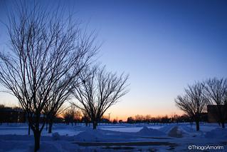 Winter Sunset on Tundra at Ohio Northern University