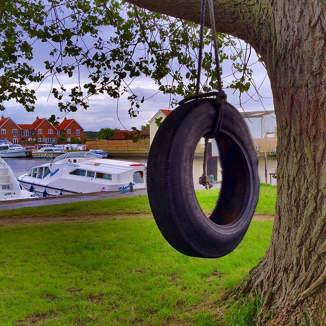 Tire swing by the Beccles Quay. #upsticksngo #travel #travelpics #Suffolk #beccles