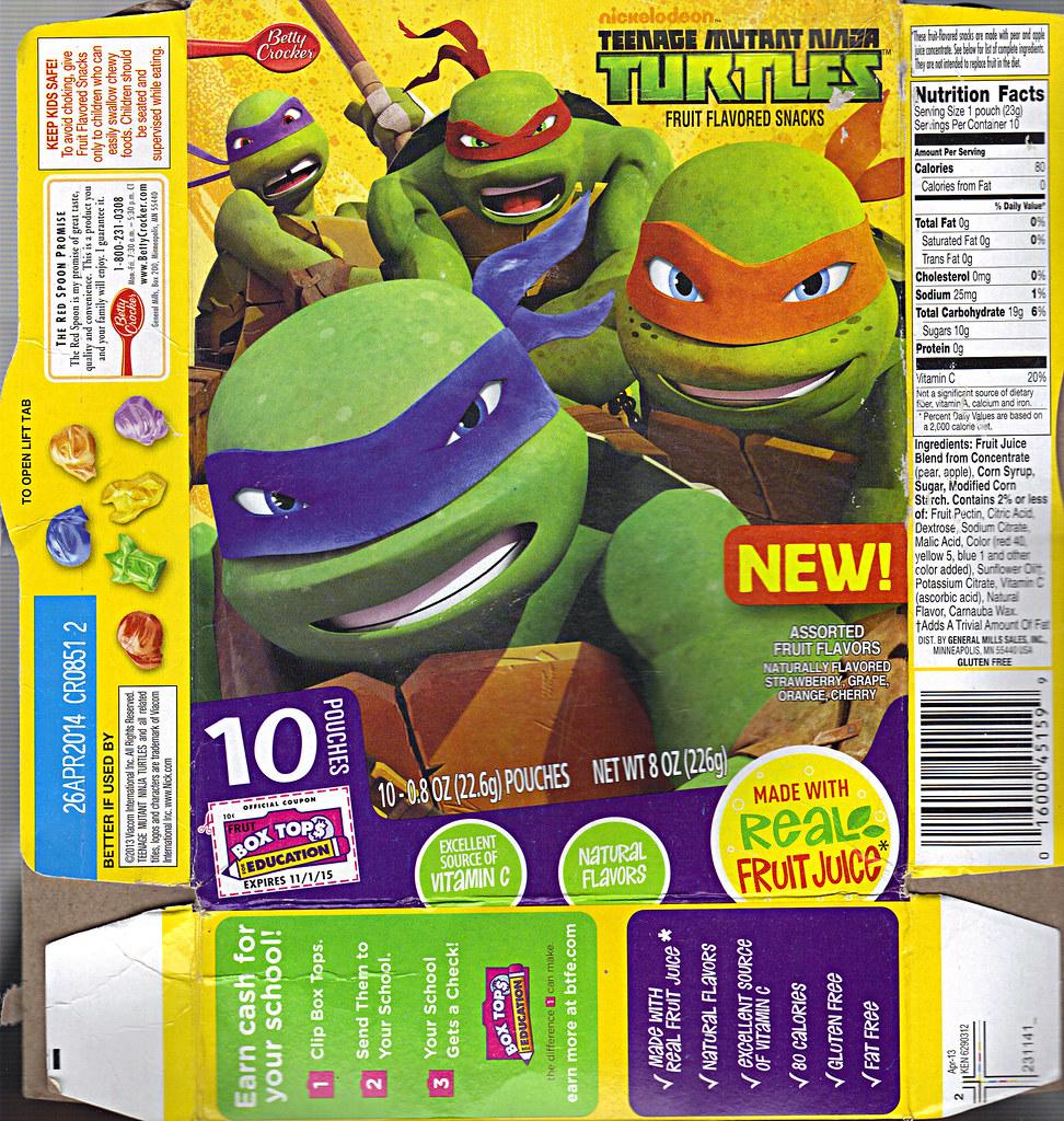 """BETTY CROCKER :: """"Nickelodeon TEENAGE MUTANT NINJA TURTLES"""" Fruit Flavored Snacks i (( 2013 )) by tOkKa"""