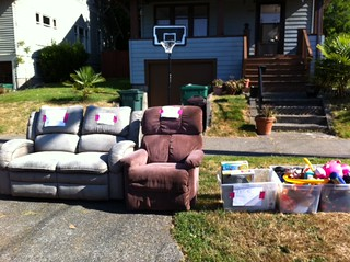 Couch, chair, bins | by yardsalebloodbath