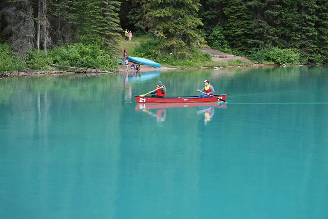 CANOES ON BEAUTIFUL EMERALD LAKE,  BC....