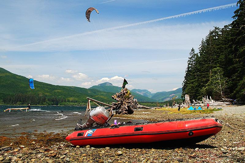 Kite Surfing at Nitinat Lake, Vancouver Island, British Columbia, Canada