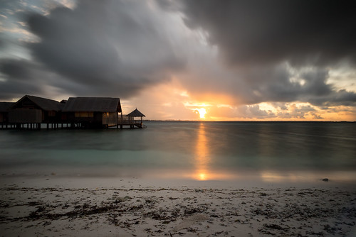 sunset sea beach clouds sand maldives longexpo