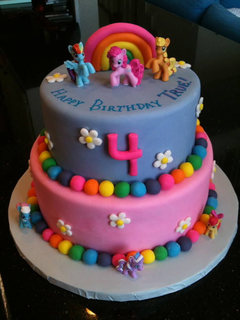 Admirable Birthday Cake For A 4 Year Old My Little Pony Theme Choco Flickr Personalised Birthday Cards Veneteletsinfo