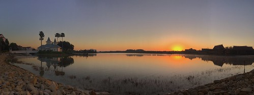 reflections pano panoramic panorama iphonese iphone scenic sky sun water sevenseaslagoon disneyspolynesianvillageresort waltdisneyworld sunrise chadsparkesphotography