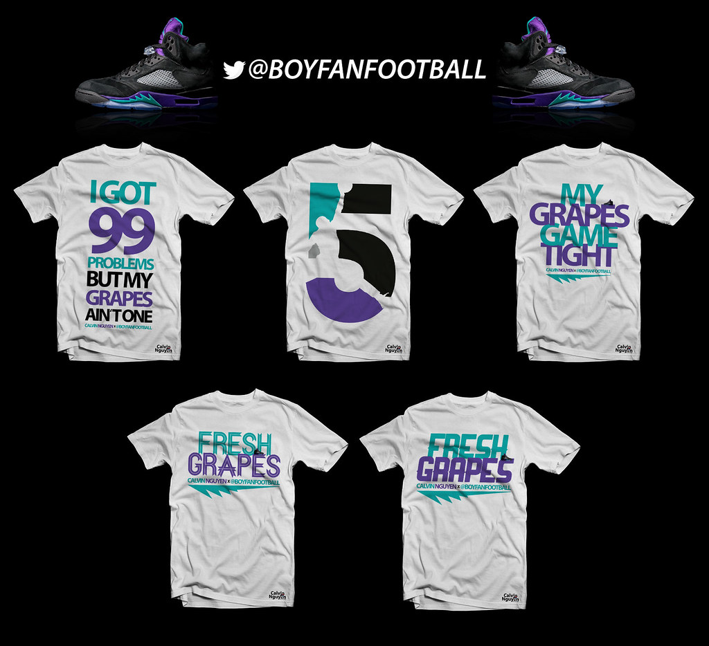 953c8059c7e0 Air Jordan 5  Black Grape  Custom T-Shirt