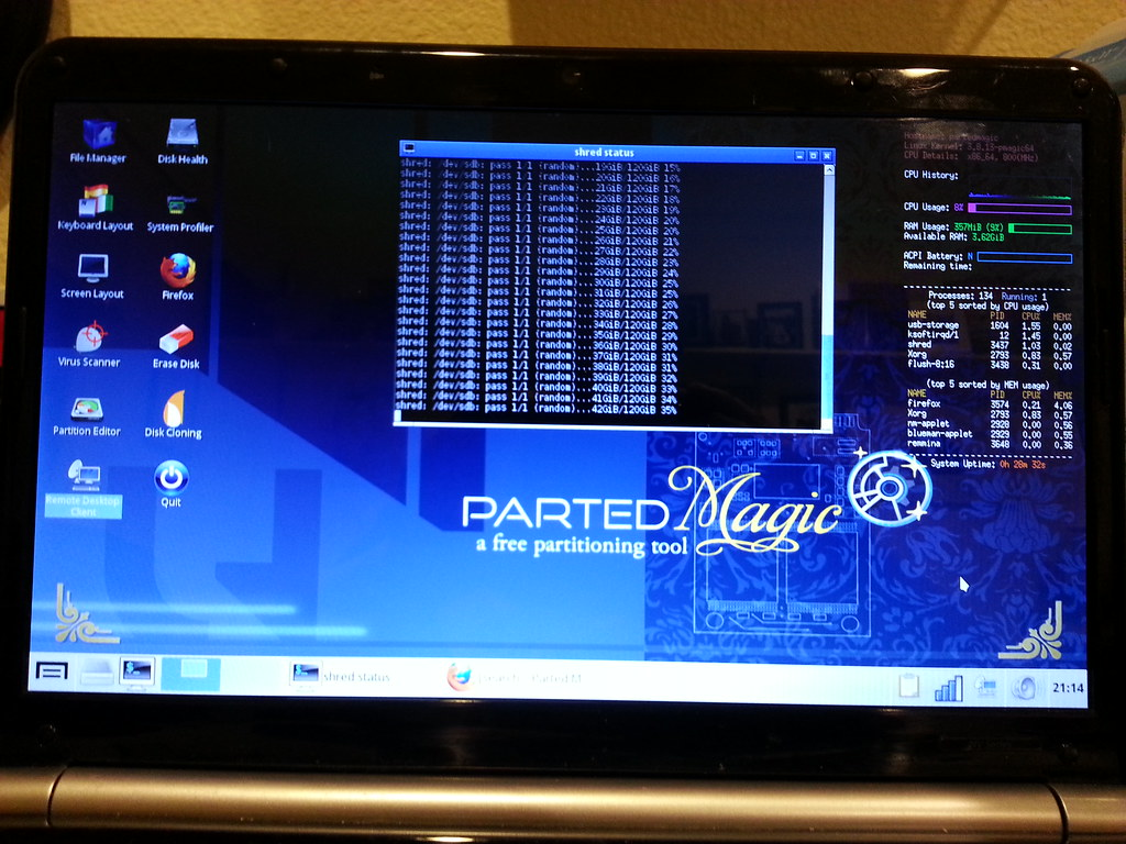 Using Parted Magic to securely erase a SSD HD I'm selling