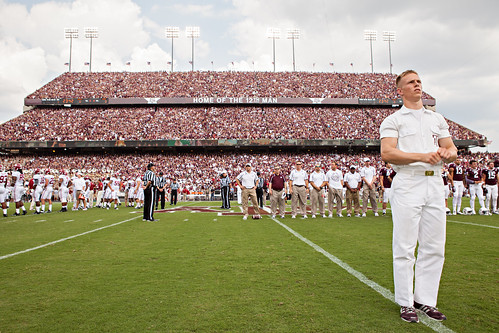 Yell leader and sellout crowd before Alabama game
