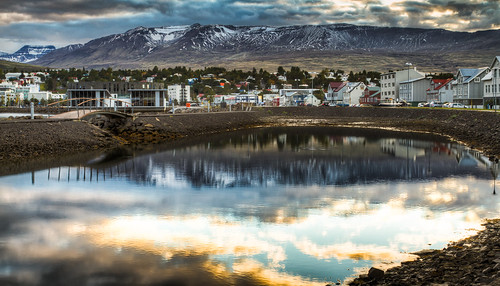 bridge windows sunset sky reflection building window nature water clouds photography iceland europe dusk objects places northeast hdr akureyri canon7d inspiredbyiceland