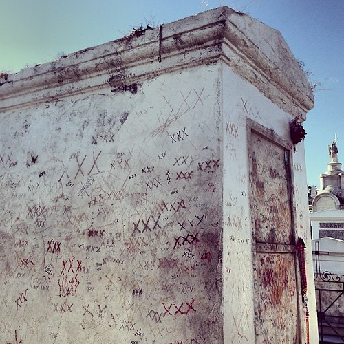 Tomb of voodoo queen Marie Laveau, the XXX is to draw good luck | by Shannon Badiee