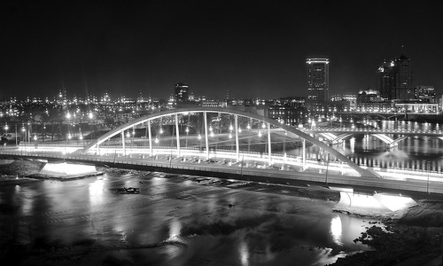 street city bridge columbus ohio urban bw white black reflection water monochrome skyline night river dark lights long exposure downtown room main rich ivory broad scioto miranova