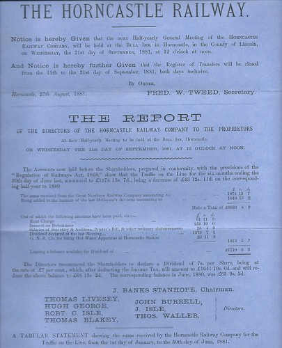 Horncastle Railway half Year Report June 1881 | by ian.dinmore