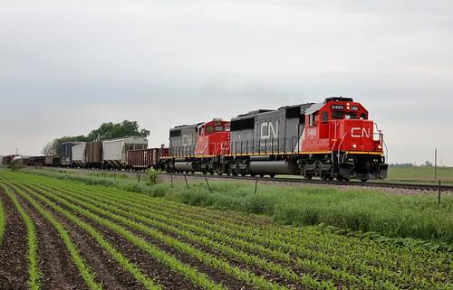 railroad cn train illinois freight oakway emd sd60 5486 m338 chartergrove