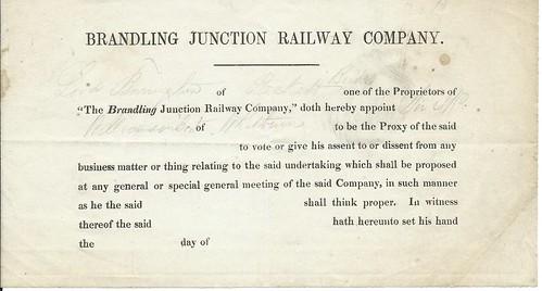 Brandling Junction Railway proxy form circa 1842   by ian.dinmore