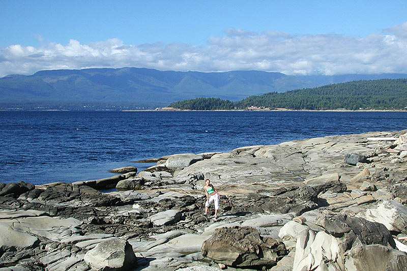 Sandstone Shoreline near Helliwell Park, Hornby Island, Gulf Islands, Georgia Strait, British Columbia, Canada