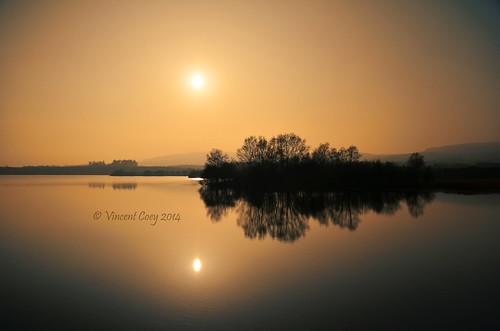 county trees ireland sunset sun mountains water reflections haze nikon reservoir wicklow roundwood vartry d5100