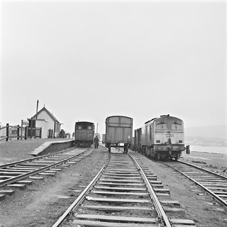 Trains at station, Valentia Harbour, Co. Kerry