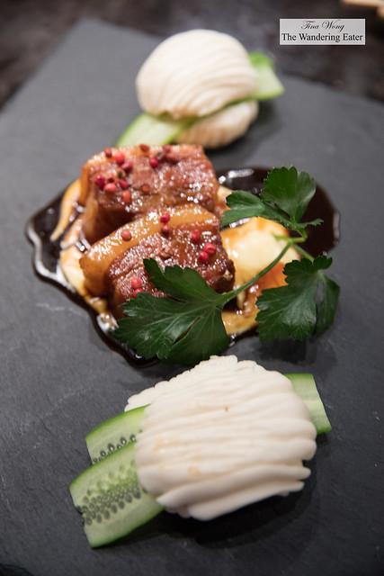 Pork Belly Bao, pork belly, cucumber, wagarashiko