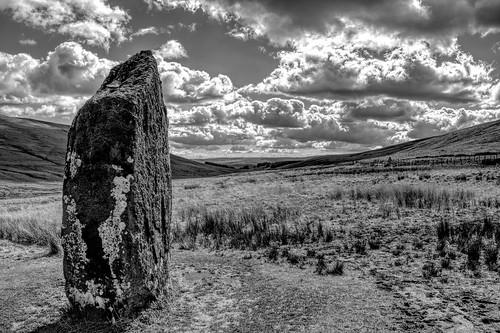 bronzeage breconbeacons nationalpark megalith standingstone wals welsh cymru spring moss lichen age sandstone powys ystradfellte