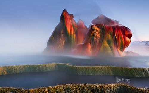 Fly Geyser near Black Rock Desert , Nevada   by In Mou We Trust