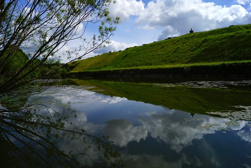 trees reflection green water grass clouds day cloudy fort sony may hampshire alpha moat chimneys a65 2013 fortbrockhurst