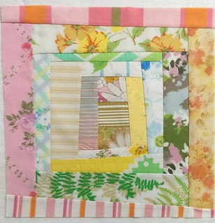 Vintage sheet block, Wonky Courthouse Steps for Heather (if it will work)