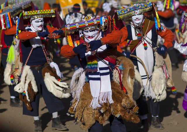 Ukukus Procession And Dances During Qoyllur Riti Festival, Ocongate Cuzco, Peru
