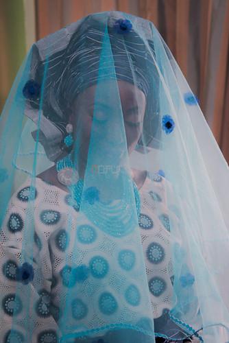 blue wedding portrait bride veil traditional nigeria kwara ilorin nofuchu