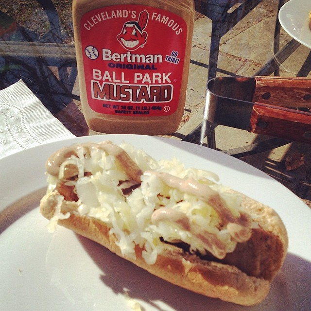 @clekraut on my farmer's market bratwurst & with the best mustard.