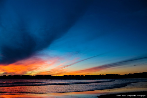goose rocks beach kennebunk kennebunkport timber island coast ocean water sunset blue pink orange sky