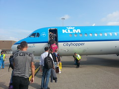 boarding our plane at Schiphol