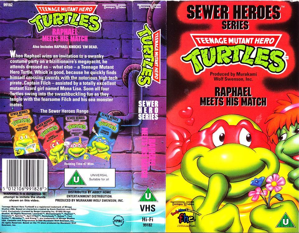 "TEMPO VIDEO ::  ""TEENAGE MUTANT HERO TURTLES"" 'SEWER HEROES' SERIES - ""RAPHAEL MEETS HIS MATCH"" ..U.K. VHS sleeve (( 1994 ))  [[ Courtesy of HERO ]] by tOkKa"