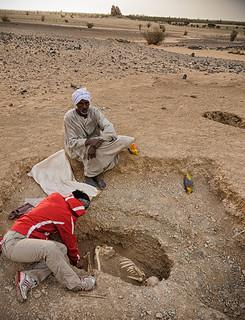 Heidi Shaw excavates a Post-Meroitic grave at Kurgus, Sudan