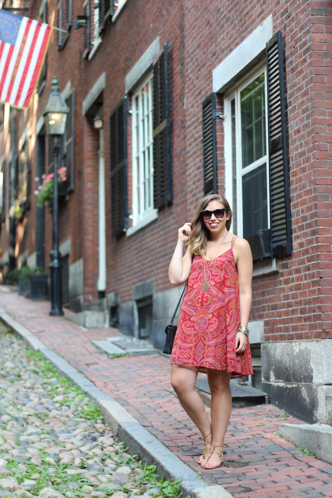 Paisley Swing Dress on Acorn St in Boston | A Look Back at 10 Years of Blogging Living After Midnite Blogger Jackie Giardina