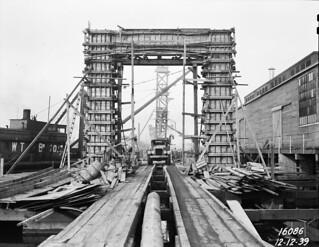Ballard Bridge south approach under construction, 1939