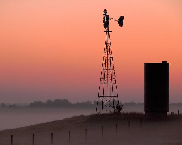 Sunrise of Silo & windmill
