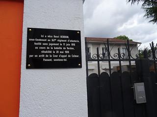 Plaque d'un fusillé de Verdun, au 58, rue des Lilas. Bagnolet
